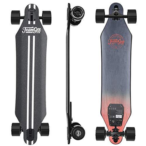 LIUJIE Elektro-Longboard, elektrisches Skateboard mit Fernbedienung für Erwachsene, komplett Skateboard Licht mit Double Motor einstellbar Mode 2