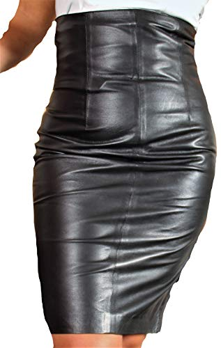 Be Noble Eleganza die Roma - Lederrock aus Echtleder hohe Taille in schwarz (M)