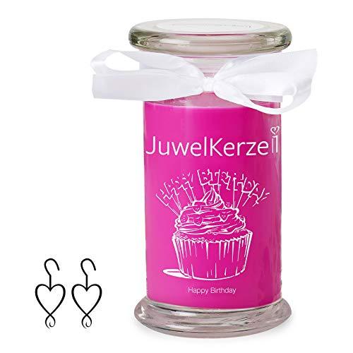 JuwelKerze Schmuckkerze 'Happy Birthday' große violett Duftkerze mit echtem Silber Schmuck (Ohrringe) - Kerze mit Schmucküberraschung als Geschenk für sie