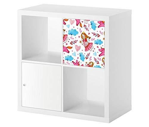 Möbelaufkleber für Ikea KALLAX / 1x Türelement Fee Prinzessin rosa Hintergrund Zauberstab Kat2 KInderzimmer KL1 Aufkleber Möbelfolie sticker (Ohne Möbel) Folie 25D2533