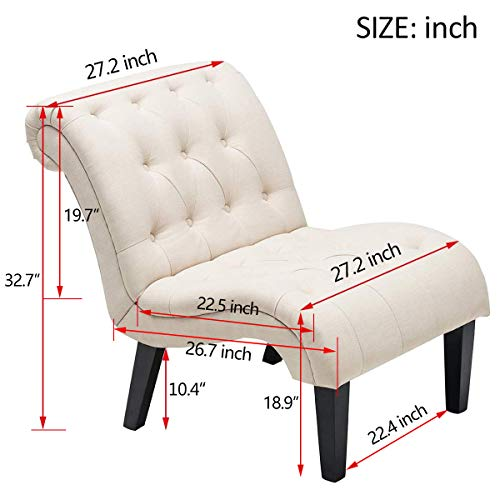 YongQiang Set of 2 Accent Chair for Living Room Bedroom Upholstered Tufted Curved Backrest Casual Fabric Chairs with Wood Legs Cream