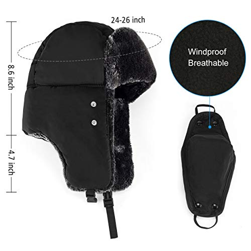 Mysuntown Unisex Winter Trooper Trapper Hat Hunting Hat Ushanka Ear Flap Chin Strap and Windproof Mask,Black,22-24 Inches ,One Size Fits All