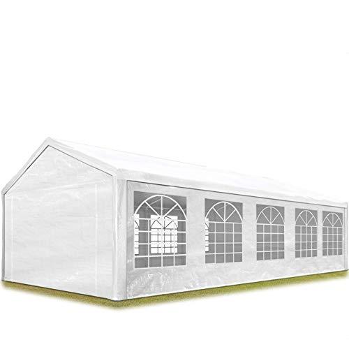 TOOLPORT Partyzelt Pavillon 4x10 m in weiß 180 g/m² PE Plane Wasserdicht UV Schutz Festzelt Gartenzelt