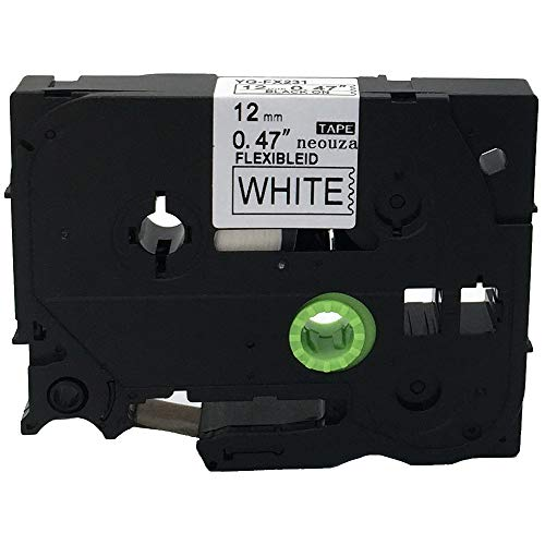 NEOUZA Compatible for Brother P-touch TZe Tz Black on White label tape 6mm 9mm 12mm 18mm 24mm 36mm all size(TZe-Fx231 12mm Flexible)