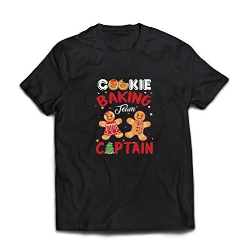 lepni.me Camisetas Hombre Equipo de horneado de Galletas de Navidad Capitn de Vacaciones de la Familia (XXX-Large Negro Multicolor)