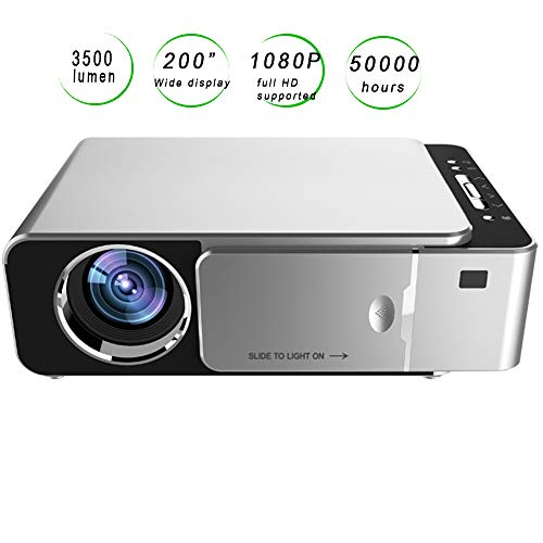 """Limerenc T6 Mini Video Projector,WiFi Smart Phone Connection 1080P Full HD 3500 Lux 200"""" LCD Video Projector for Home,Business,Outdoor . Best Gift."""