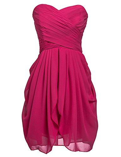 Sarahbridal Damen Mini Chiffon Ballkleid Herzenform Abendkleider Faltenrock Abschlussballkleider SSD247 Burgunderrot EU38