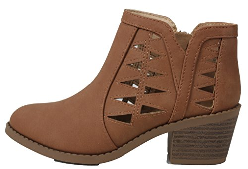 SODA Girl's Triangle Cutout Side Chunky Stacked Heel Ankle Boot (Tan, numeric_3)