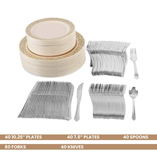 Party Bargains Disposable Plastic Plates Ivory Gold | Heavyweight & Premium Quality China Like Dinnerware Lace Collection | Plastic Silverware Set for Weddings, Fine Dining and Parties | 240 Counts