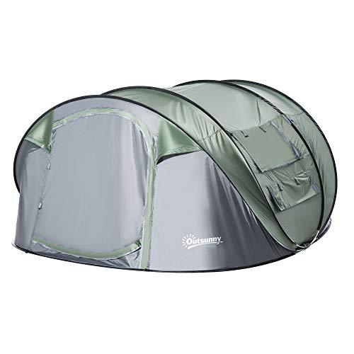 Outsunny Tente de Camping 4-5 Personnes Montage instantanée Pop-up 2 Portes enroulables 4 fenêtres dim. 2,63L x 2,2l x 1,23H m Fibre Verre Polyester PE Vert Gris