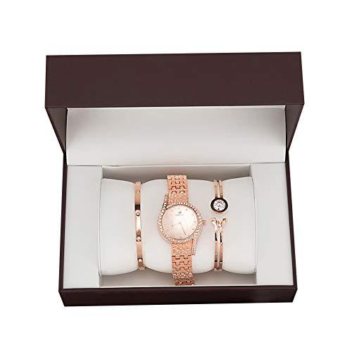 Dames ultradunne minimalistische horlogeset, waterdicht met verstelbare armband, luxe ronde volledige diamanten dameshorloge, strass roestvrij stalen band armband polshorloge,L3
