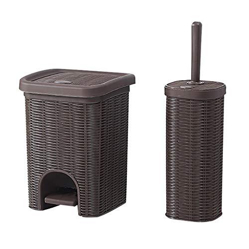 Poubelle- Pédale Poubelle avec toilettes Brosse, PP plastique, Convient for Bureau Salon Chambre Cuisine (Color : Brown, Size : Trumpet+toilet brush)