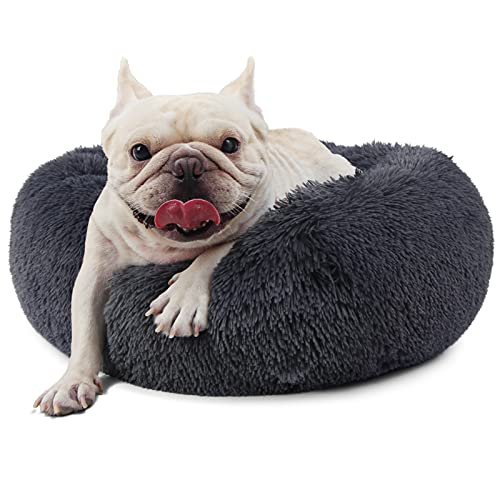 nononfish Washable Dog Beds for Small Dogs 23 inch Donut Calming Dog Bed for French Bulldog Small Pets,Faux Fur Self Warming Orthopedic Puppy Bed for Little Dogs up to 25lbs,Dark Grey