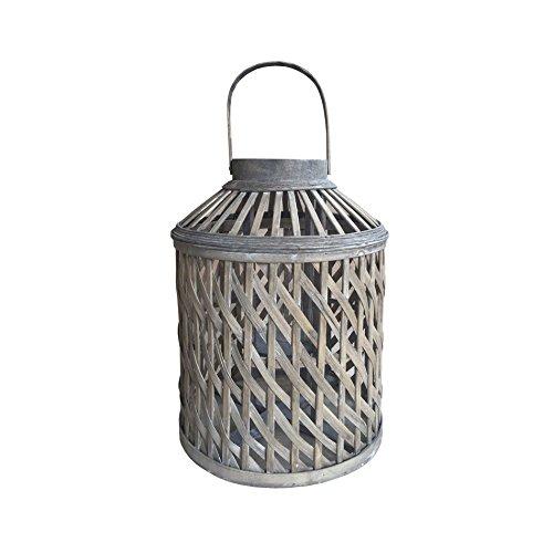 Rebecca Mobili Porta Candela Lanterna da Pavimento Legno Bambu Vetro Marrone Decorazione Casa Terrazzo (cod. RE6233)