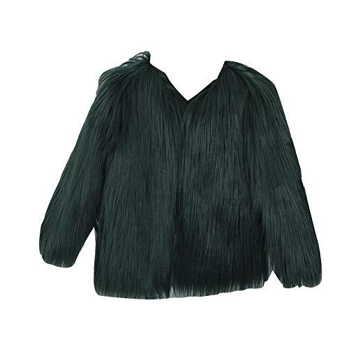 Mujer Otoño Invierno Cálido Chaqueta cálida de Color sólido Abrigo Corto de Pelo sintético Peludo Parkas Abrigo Peludo Corto de Mangas Larga Verde XXL