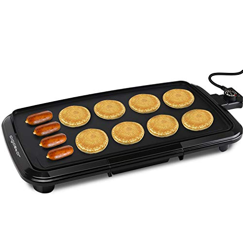 """Aigostar Varmo Nonstick Electric Griddles - 1500W Pancakes Griddle Grill with Drip Tray, 10"""" x 20"""" Family-Sized, Black"""