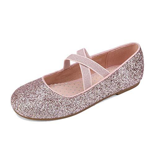 DREAM PAIRS Girls Ballerina Dress Shoes Cross-Strap Mary Jane Flats Pink Size 4 Big Kid Angie-2