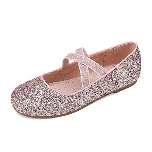 DREAM PAIRS Girls Party Ballet Shoes Mary Jane Strap Flat Pink Size 10 US Toddler / 9 Child UK Angie-2