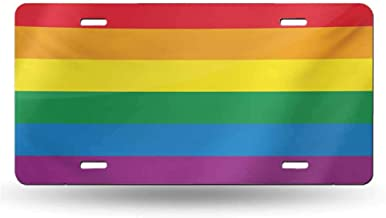 dsdsgog Impact Bumps Pride,Horizontal Rainbow Colored Flag of Gay Parade Freedom Equality Love Passion Theme,Multicolor 12x6 inches,Aluminum Novelty License Plate