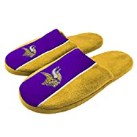 FOCO NFL Minnesota Vikings Big Logo Stripe Slipper - Large