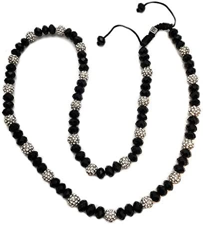 Hip HOP Bling Rapper s White Gold PT SHAMBALLA Black Bead 8mm 24 Chain Necklace product image