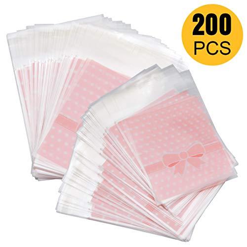 ZITFRI 200PCS Sacchetti Portaconfetti Plastica Confetti Bustine Alimentari per la Festa di Compleanno Halloween Natale Rosa(8 * 10cm + 3cm)