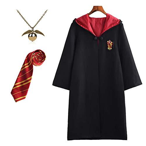 FStory&Winyee Harry Potter Kostüm Kinder Erwachsene Unisex Umhang Fasching Outfit Set Gryffindor Hufflepuff Ravenclaw Slytherin Fanartikel Gold/Silber Verräter-Halskette
