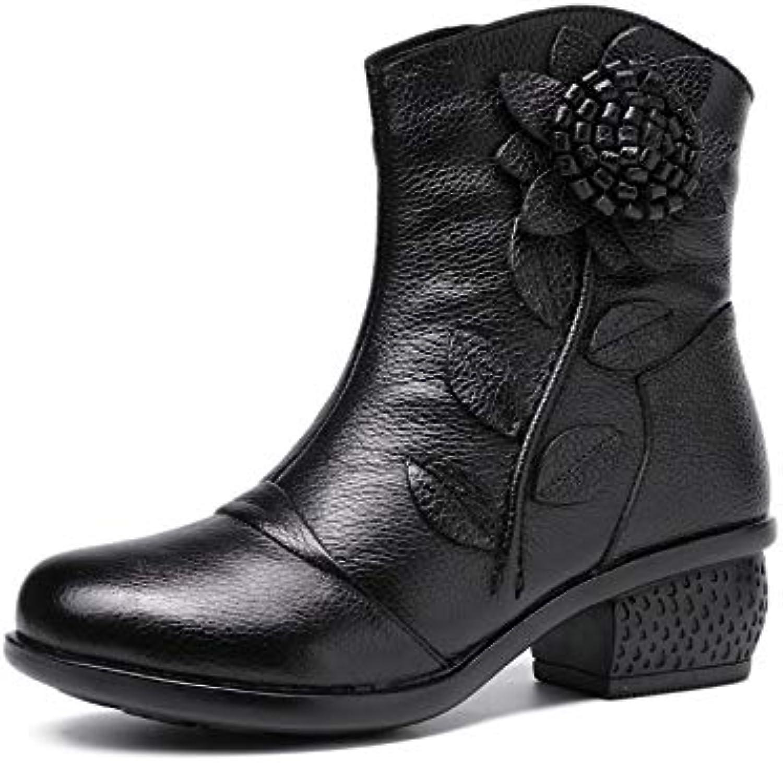 LingGT Leather Women Ankle Boots Zipper Leather Flower Block shoes (color   Black, Size   CA 9)