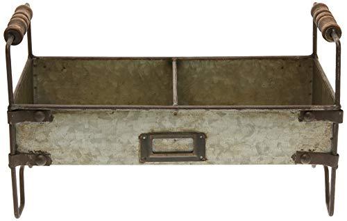 Better & Best 1402480 Jardinera gris rectangular de 2 macetas con patas de hierro, color: gris