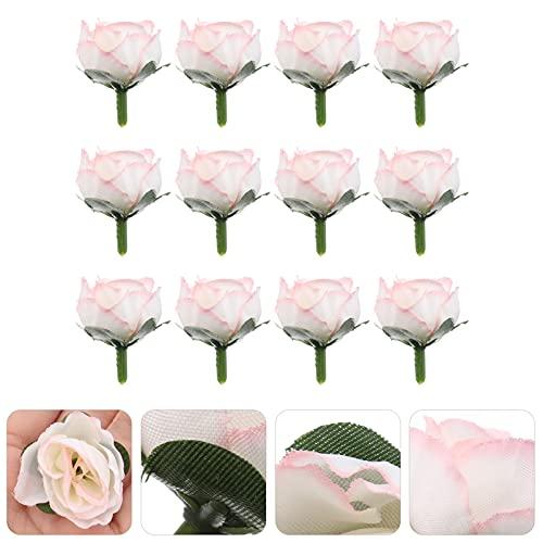 ifundom 50 Piezas de Flores Artificiales Rosas de Toque Real Cabezas de Flores con Tallo para DIY Boda Ramos Centros de Mesa Arreglos Fiesta Baby Shower Hogar Decoración