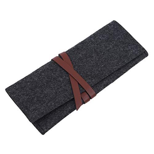 GOMYIE Portable Roll-Up Felt Sac De Rangement Cosmetic Brush Pouch Organizer Accessoires (Noir)
