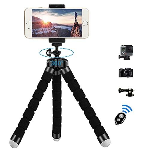 Zommuei Mini Trípode, Trípode Móvil Flexible con Bluetooth Control Remoto y Adaptador Smartphone, Piezas Gopro Portátil Trípode con Tornillo 1/4