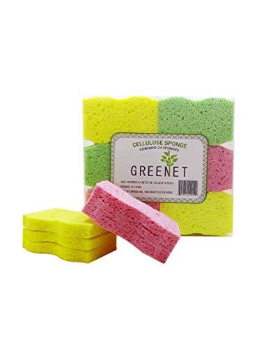 Greenet Esponjas de Limpieza de celulosa - Pack de 24 esponj