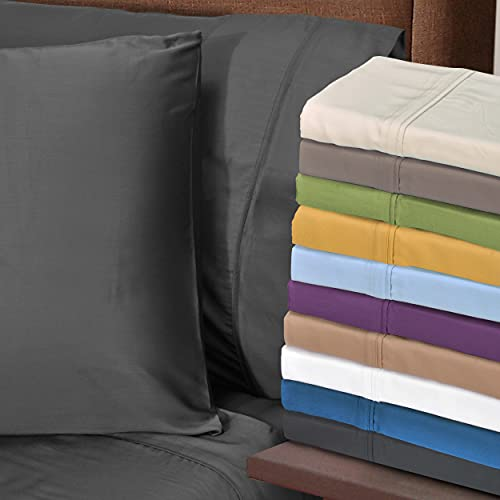 Rayon from Bamboo 300-Thread Count Solid Deep Pocket Sheet Set, Queen, Purple, 2-Piece Set by Superior