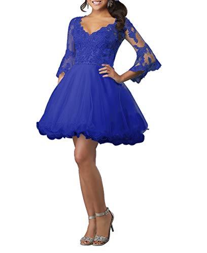 HUINI Ballkleid Damen Kurz Abendkleid Cocktailkleid Elegant Spitzen Abiballkleid mit Ärmel A-Linie Abschlussballkleid Königsblau 38