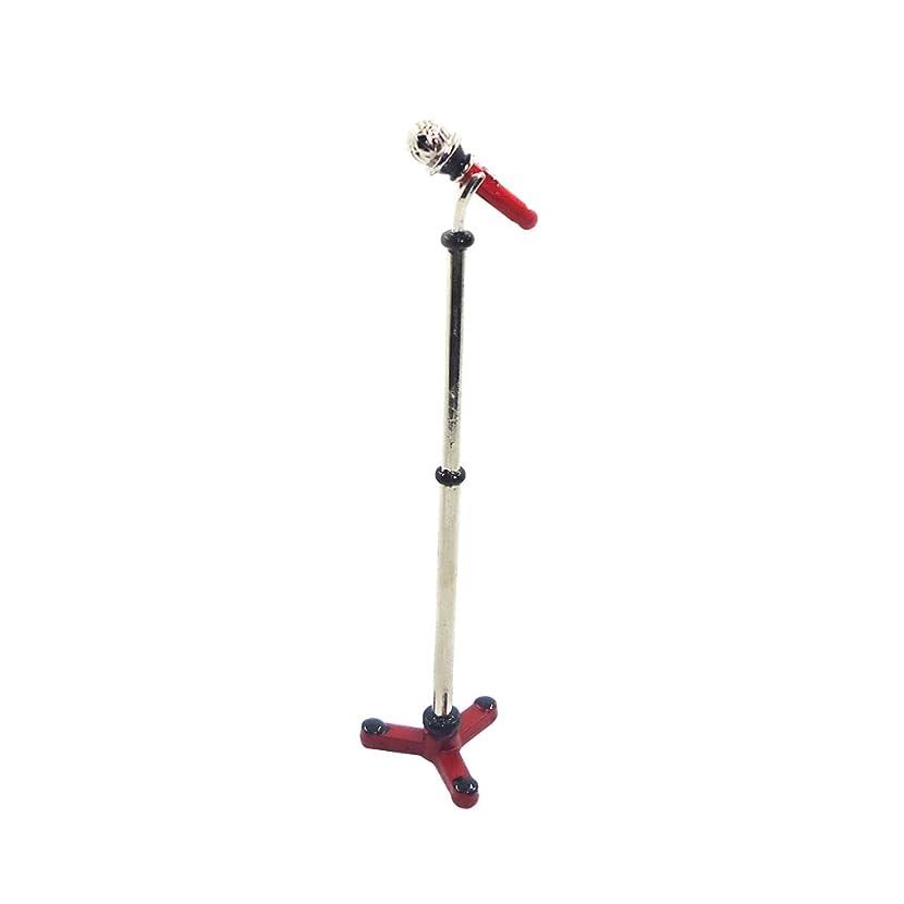 ゴルフジェスチャー手首DIY ドールハウス マイク ホルダー ミニチュア 楽器 マイクロ ジックルーム 装飾 1:12 - レッド