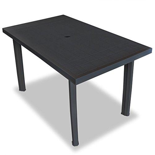 Festnight Gartentisch Esstisch Tisch Terrassentisch 126 x 76 x 72 cm Kunststoff Anthrazitgrau