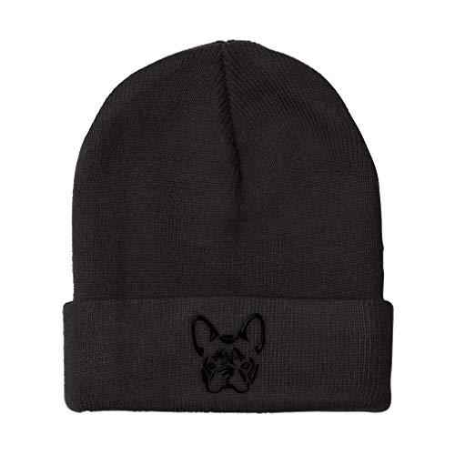 Custom Beanie for Men & Women French Bulldog Silhouette Embroidery Acrylic Skull Cap Hat Black Design Only