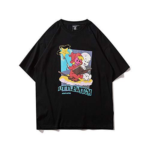 DREAMING-Camisetas de Manga Corta de Hip-Hop para Hombres y Mujeres, Camisetas de algodón de Cuello Redondo con Estampado Suelto, Camisa de Pareja, Pantalones de Verano S