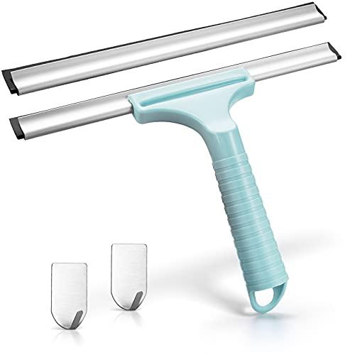 Beculerty Rasqueta limpiacristales para ducha, sin taladrar, con gancho adhesivo, repuesto de silicona, para espejo de baño, cocina, ventana, coche, puerta de ducha