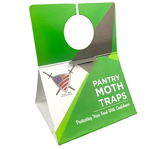 Pantry Moth Trap (6 Pack) - Closet Traps for Moths with Unique Hanging Design, Pheromone Attractant Catches Male Moths Naturally without Toxic Repellant is Family Safe and Prime for Kitchen Closets.
