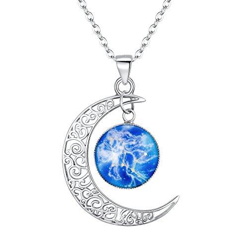 Clearine Halskette Damen 925 Sterling Silber Horoskop Tierkreis 12 Konstellation Astrologie Galaxis & Halbmond Mond Glas Bead Anhänger Hals-Schmuck Waage
