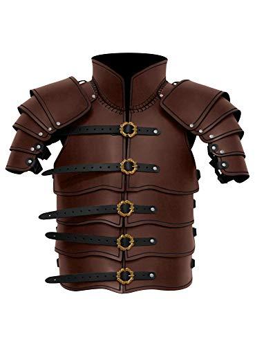 Andracor Lederrüstung mit Schultern - Braun - Lamellen Rüstung aus echtem Leder mit integrierten Schultern und viel Bewegungsfreiheit für LARP, Cosplay, Verkleidung und Mittelalter