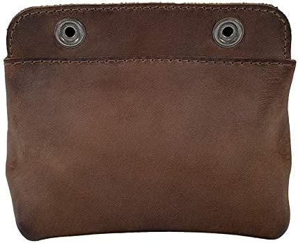 Leather Double Snap Pouch, Coin Purse, Cash & Card Holder, Cable Organizer, Makeup, Handmade (4x5 Inches)