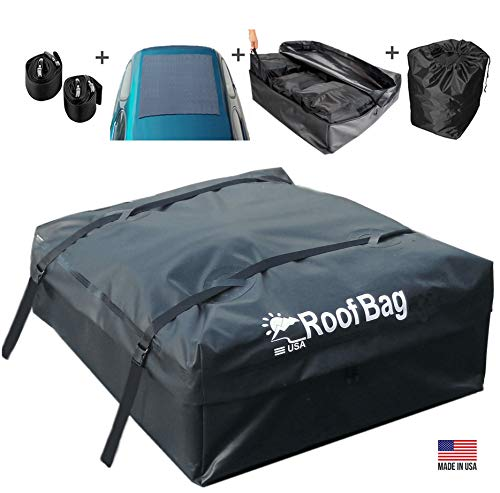 RoofBag Rooftop Cargo Carrier Made in USA, 15 Cubic Feet. Waterproof Car Top Carriers Include 3 Liner Bags, Roof Protective Mat, Storage Bag, Straps