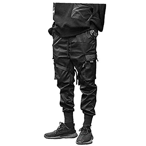 Odoukey Pantalones Hombre Moda Pantalones de Carga del Harem de los Pantalones El Traje de Hiphop del Punk del Basculador Deporte Hombres Muchachos de la Manera Negro M