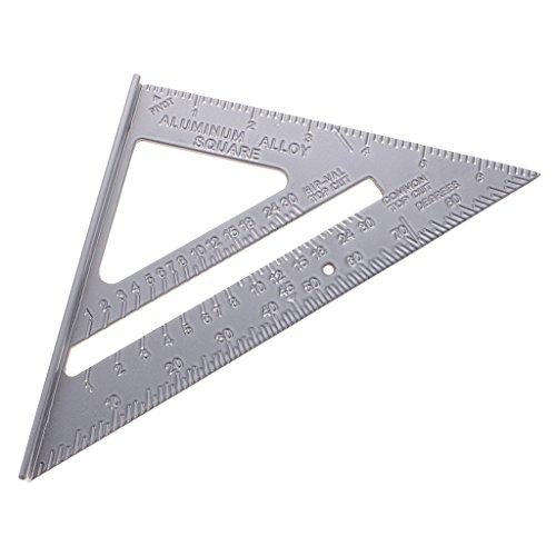 MagiDeal 7'' Righello di Riangolo Squadrette Goniometri Attrezzi di Misurazione Incorniciatura del Carpentiere Quadrato del Rullo Alluminio