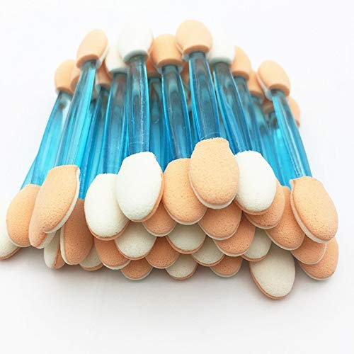 50pcs brosse à paupières jetable éponge double face kit en nylon maquillage pinceaux à paupières pour applicateur cosmétique composent un 50PCS-bleu