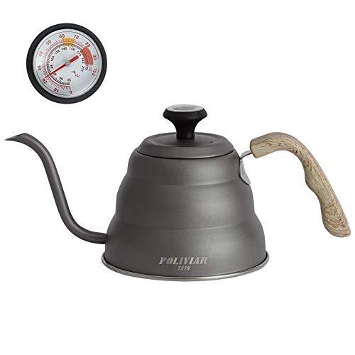 Poliviar Thermometer Kaffeekessel 1 Liter Schwanenhals Wasserkocher gießen über Schwanenhalsausguss Kaffeekanne mit Holzgriff für Induktionsfeuer & Herdplatten Kaffeekocher für Kaffee und Tee, Grau