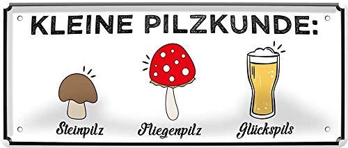 """Blechschild Lustiger Bier Spruch """"Kleine Pilzkunde: Steinpilz, Glückspils"""" Deko Alkohol Pub Bayern Theke Bar Schild Metallschild Humor Witziges Geschenk zum Geburtstag oder Weihnachten 28x12 cm"""